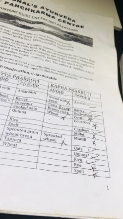 So here she's marked off foods I can/can't eat under Kapha Dosha.....